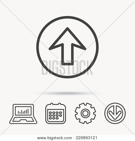 Upload Icon. Top Arrow Sign. Internet Load Symbol. Notebook, Calendar And Cogwheel Signs. Download A