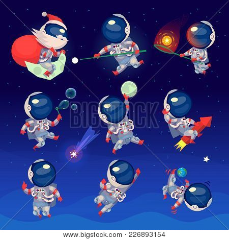 Set Of Cute Astronauts In Space, Working Playing Games And Having Fun. Astronauts In Space Suits Wit