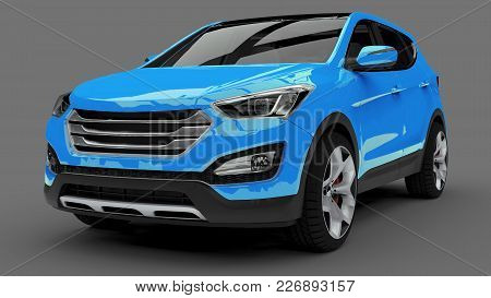 Compact City Crossover Blue Color On A Gray Background. 3d Rendering