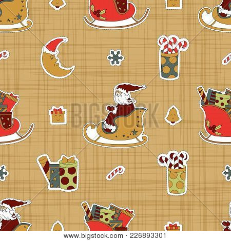 Cartoon Collection Greetings Stickers For Christmas. Santa Claus In A Sleigh, Presents, Candy And Mo