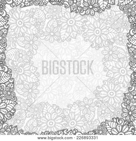 Vector Template With Flower. Decoration Floral Brochure. Your Text Here. Abstrsct Blossom Postcard.