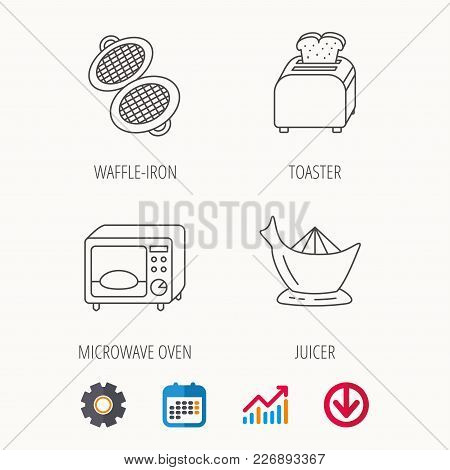 Microwave Oven, Toaster And Juicer Icons. Waffle-iron Linear Sign. Calendar, Graph Chart And Cogwhee