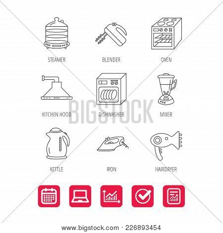 Dishwasher, Kettle And Mixer Icons. Oven, Steamer And Iron Linear Signs. Hair Dryer, Blender And Kit