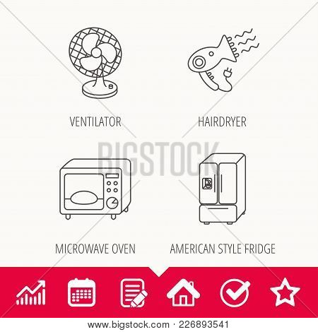 Microwave Oven, Hair Dryer And Ventilator Icons. American Style Refrigerator Linear Sign. Edit Docum