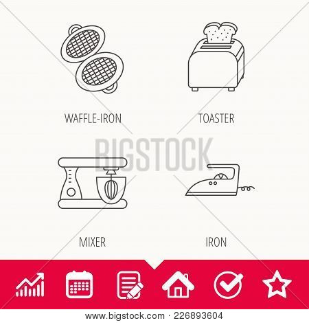 Iron, Toaster And Blender Icons. Waffle-iron Linear Sign. Edit Document, Calendar And Graph Chart Si