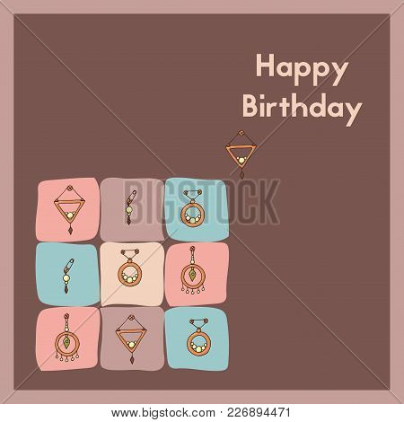 Happy Birthday Vector Illustration. Greeting Card Design. E-card For An Anniversary.