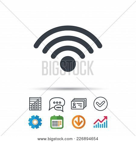 Wifi Icon. Wireless Internet Sign. Communication Technology Symbol. Statistics Chart, Chat Speech Bu