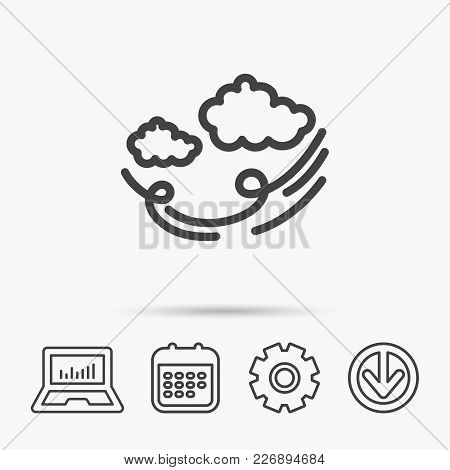 Wind Icon. Cloud With Storm Sign. Strong Wind Or Tempest Symbol. Notebook, Calendar And Cogwheel Sig