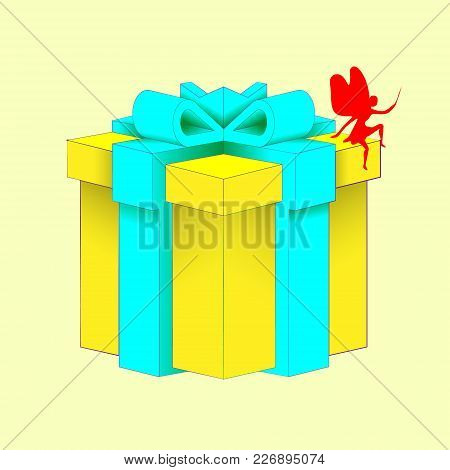 Realistic Volumetric Yellow Gift Box With Ribbon For Birthday Celebration, Christmas, Party, Anniver