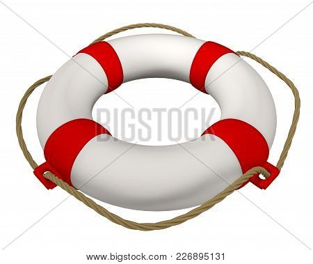 3d Rendering Of Lifebuoy With Rope Isolated On White