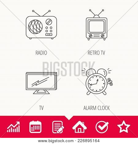 Tv, Retro Radio And Alarm Clock Icons. Widescreen Tv Linear Sign. Edit Document, Calendar And Graph
