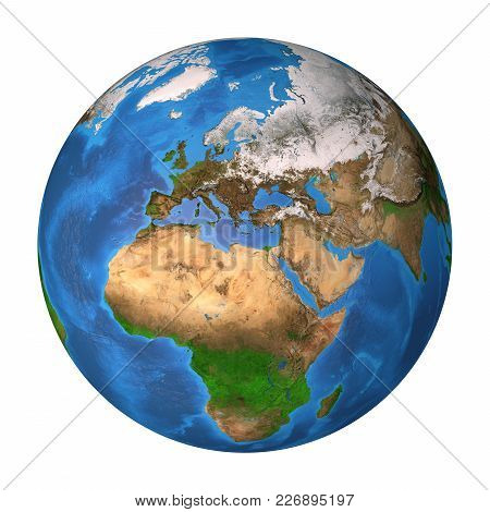 Realistic Satellite View Of Planet Earth In High Resolution, Focused On Europe, Africa And Asia. 3d