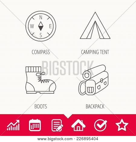 Backpack, Camping Tend And Hiking Boots Icons. Compass Linear Sign. Edit Document, Calendar And Grap