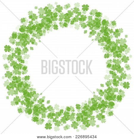 Round Frame With Fourleaf Clover. St.patrick S Day. Vector Element For Covers, Frames, Postcards And