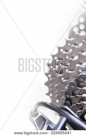 Mountain Bike Wheel And Gear Detail With A New Clean Chain And Metal Chain Rings