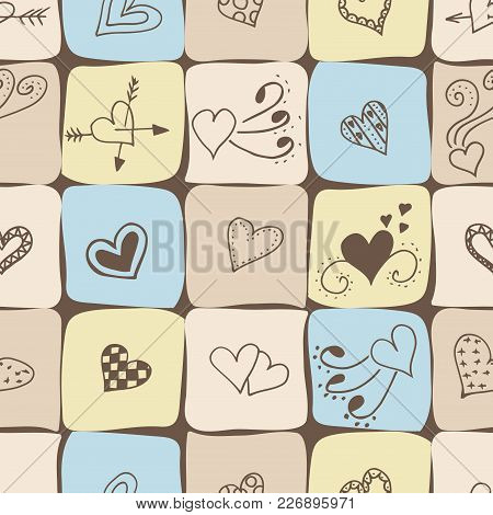 Seamless Pattern Background For Valentines Day. Canvas Fabric Pastel Colors With A Brown Hearts. Vec