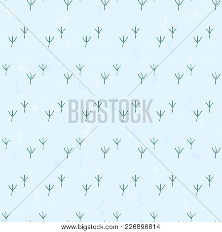 Chicken Foot Prints Vector Illustration. Seamless Pattern Background Blue Footprint.