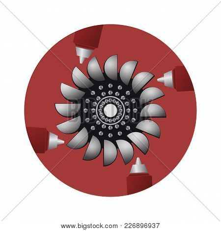 Hydro Turbine. The Sources Of Renewable Energy. The Electricity Generator. Vector Illustration.