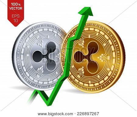 Ripple. Growth. Green Arrow Up. Ripple Index Rating Go Up On Exchange Market. Crypto Currency. 3d Is