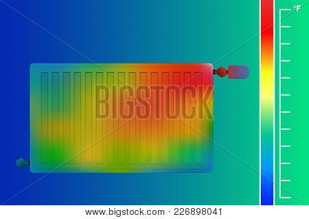 Steel Panel Radiator For Aquatic Heating System. Hvac Equipment Thermal Imager. Vector Illustration.