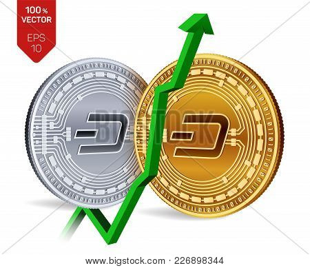 Dash. Growth. Green Arrow Up. Dash Index Rating Go Up On Exchange Market. Crypto Currency. 3d Isomet