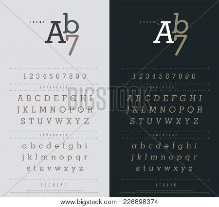 Classic Alphabet Letters Set. Exclusive Custom Letters Narrow Sanserif Font With Rounded Corners. Ty