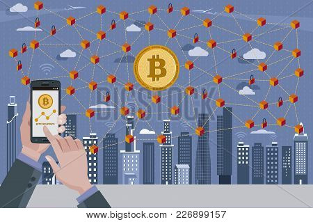 Modern City,bitcoin Currency Symbol, Blockchain Ntransaction Network With Bitcoin Currency. In The F