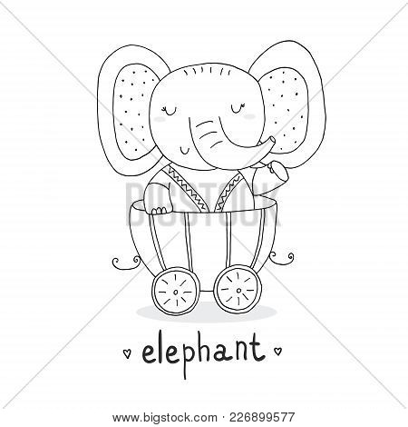 Hand Drawn Page For Coloring Book With Cute Elephant In The Trailer. Print For Kids.