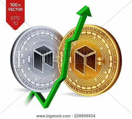 Neo. Growth. Green Arrow Up. Neo Index Rating Go Up On Exchange Market. Crypto Currency. 3d Isometri
