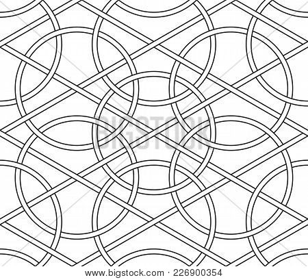 Interlaced Circles, Seamless Line Geometric Vector Pattern