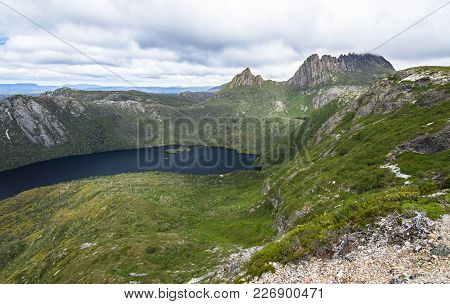 Cradle Mountain Sits Above Dove Lake In The Cradle Mountain - Lake St Clair National Park, Tasmania.