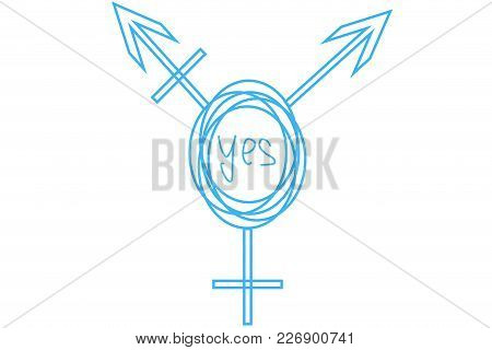 Drawn Intersex And Transgender Symbol With Text In The Center: Yes