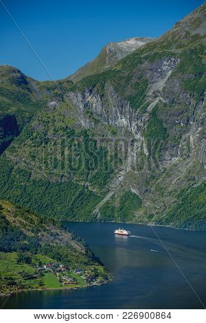 Nature Norway. Geiranger Fjord. Beautiful Summer Landscape. Vertical View