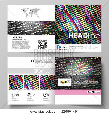 Business Templates For Square Design Bi Fold Brochure, Magazine, Flyer, Booklet Or Annual Report. Le