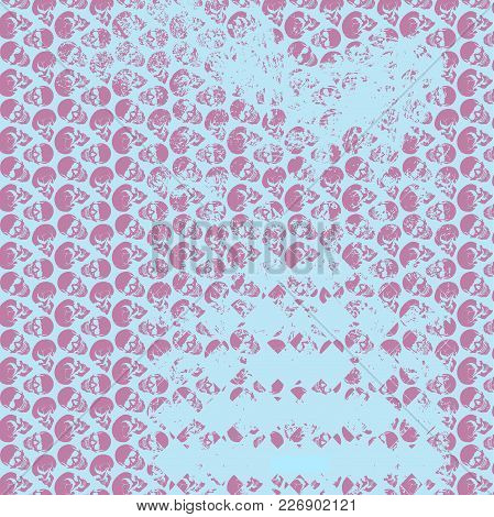 Skull Art Background. An Illustration Of Pink Skulls And Faded Skulls On A Blue Background.