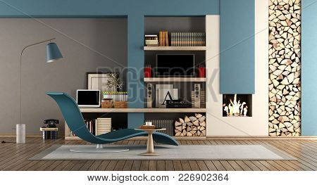 Blue And Brown Living Room With Fireplace,chaise Lounge And Tv Set - 3d Rendering