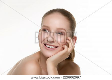 I Am Pretty. The Beautiful Female Face. The Young Smiling Happy Woman With Perfect And Clean Skin Of