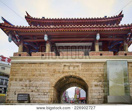 Xinzhu, Taiwan - November 12, 2017: Ying Hsi Men On 12 November 2017 In Xinzhu, Taiwan. The Reconstr