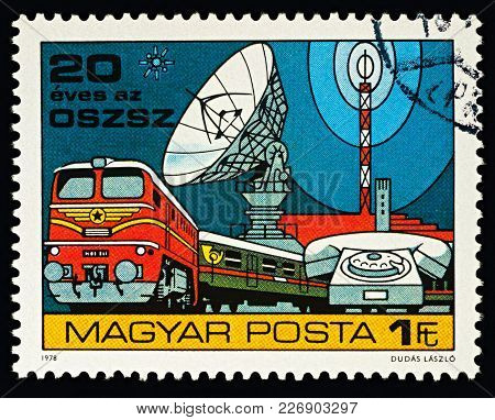 Moscow, Russia - February 16, 2018: A Stamp Printed In Hungary, Shows Means Of Communications, Dedic