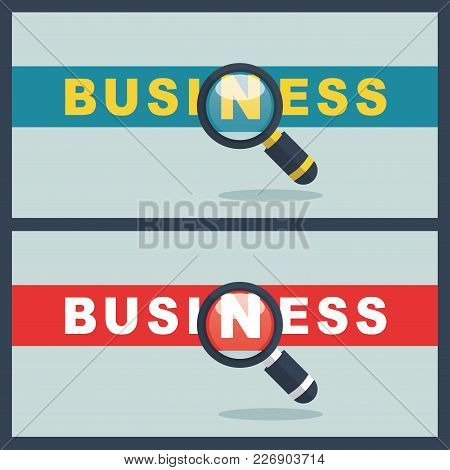 Illustration Of Business Word With Magnifier Concept