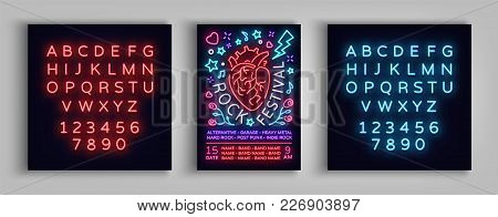 Invitation To Rock Festival. Typography, Poster In Neon Style, Flyer Design Template For Rock Festiv
