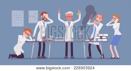 Mad Scientist Failed Chemical Experiments. Male And Female Experts Of Physical Or Natural Laboratory