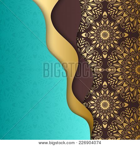 Mandala, Tribal Background With A Gold Medallion