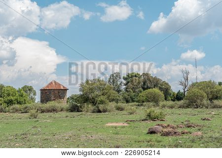 A Farm Scene With An Old Storage Building Near Verkeerdevlei In The Free State Privince Of South Afr