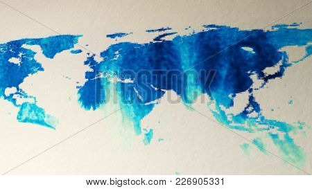 Watercolor Colors Drip On The Paper And Form The Silhouette Of The World Map.