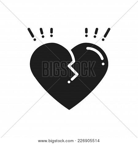 Broken Heart Line Icon. Sign And Symbol. Love End Relationship Lie Wedding Divorce Treachery Heartbr