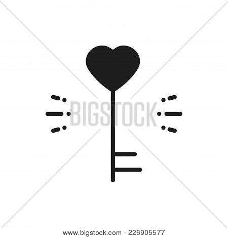 Key Line Icon. Heart Shape. Happy Valentine Day Sign And Symbol. Love Couple Relationship Dating Wed