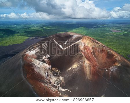 Scenic View On Active Crater Volcano Aerial Drone View