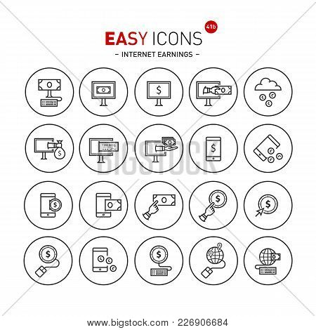 Vector Thin Line Flat Design Icons Set For E-commerce And Online Earnings Theme