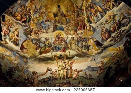 Florence, Italy - September 18, 2017:  Detail Of The Last Judgment; A Monumental Fresco Painted By G